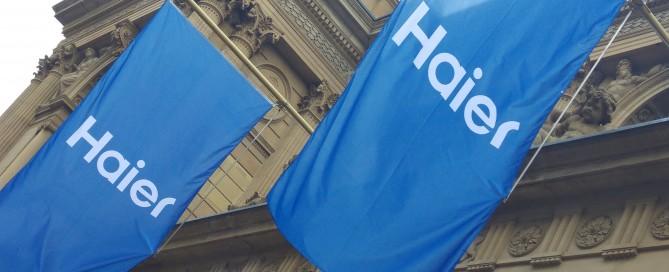 Haier-Flaggen an der Frankfurter Börse